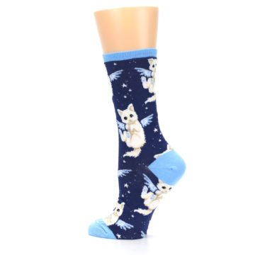 Image of Navy Purrfect Angel Cat Women's Dress Socks (side-2-13)