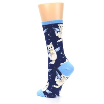 Image of Navy Purrfect Angel Cat Women's Dress Socks (side-2-back-14)