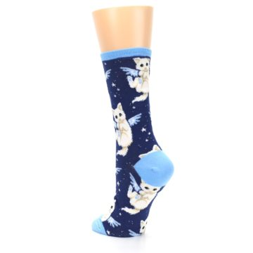 Image of Navy Purrfect Angel Cat Women's Dress Socks (side-2-back-15)