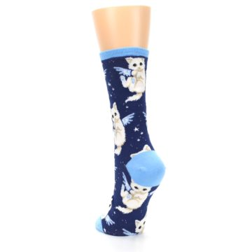 Image of Navy Purrfect Angel Cat Women's Dress Socks (side-2-back-16)