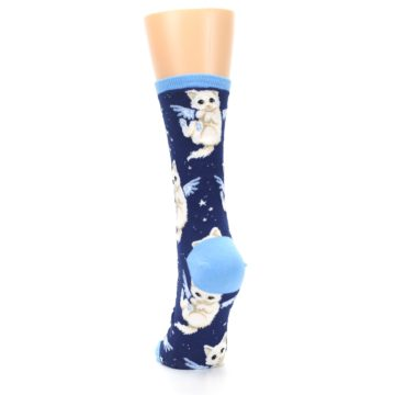 Image of Navy Purrfect Angel Cat Women's Dress Socks (back-17)