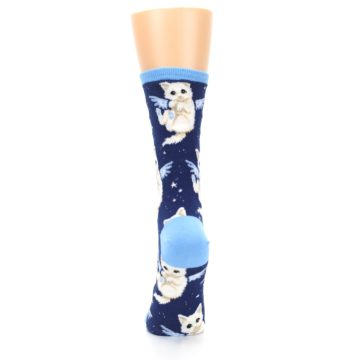 Image of Navy Purrfect Angel Cat Women's Dress Socks (back-18)