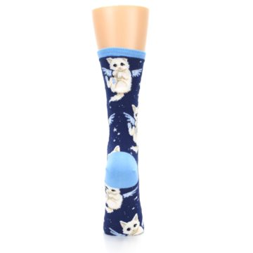 Image of Navy Purrfect Angel Cat Women's Dress Socks (back-19)