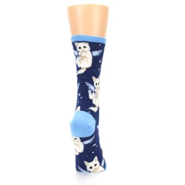 Image of Navy Purrfect Angel Cat Women's Dress Socks (side-1-back-20)