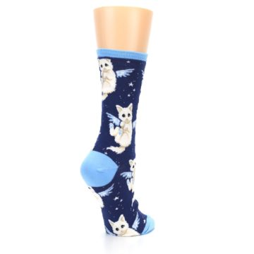 Image of Navy Purrfect Angel Cat Women's Dress Socks (side-1-back-22)