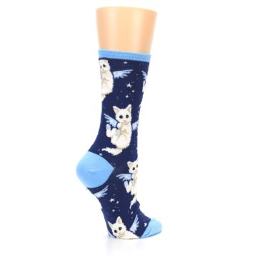 Image of Navy Purrfect Angel Cat Women's Dress Socks (side-1-23)