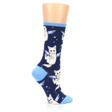 Image of Navy Purrfect Angel Cat Women's Dress Socks (side-1-24)