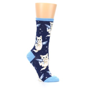 Image of Navy Purrfect Angel Cat Women's Dress Socks (side-1-26)