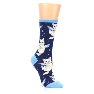 Image of Navy Purrfect Angel Cat Women's Dress Socks (side-1-27)