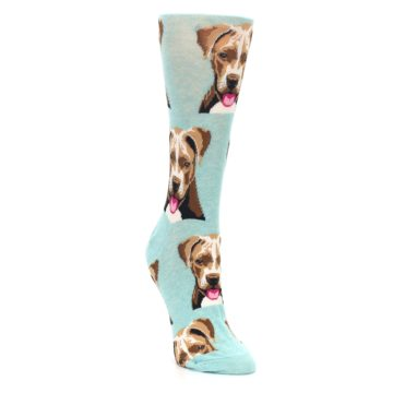 Image of Mint Pitbull Dog Women's Dress Socks (side-1-front-02)