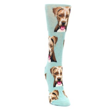 Image of Mint Pitbull Dog Women's Dress Socks (side-1-front-03)