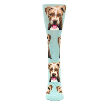Image of Mint Pitbull Dog Women's Dress Socks (front-05)