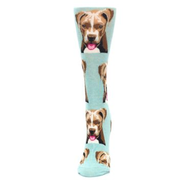 Image of Mint Pitbull Dog Women's Dress Socks (side-2-front-06)