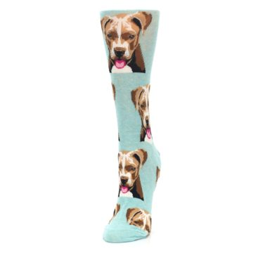 Image of Mint Pitbull Dog Women's Dress Socks (side-2-front-07)