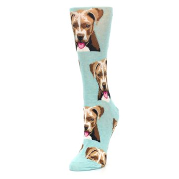 Image of Mint Pitbull Dog Women's Dress Socks (side-2-front-08)