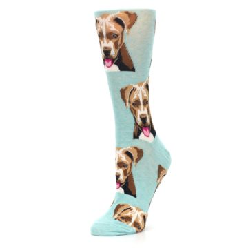 Image of Mint Pitbull Dog Women's Dress Socks (side-2-09)