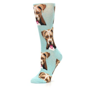 Image of Mint Pitbull Dog Women's Dress Socks (side-2-10)