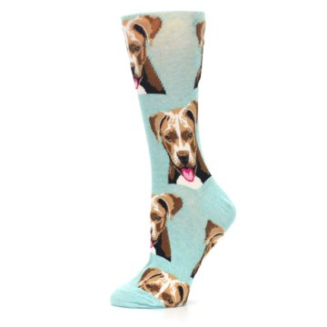 Image of Mint Pitbull Dog Women's Dress Socks (side-2-11)