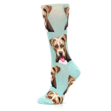 Image of Mint Pitbull Dog Women's Dress Socks (side-2-12)