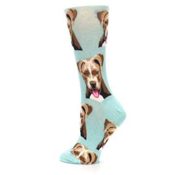 Image of Mint Pitbull Dog Women's Dress Socks (side-2-13)