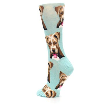 Image of Mint Pitbull Dog Women's Dress Socks (side-2-back-14)