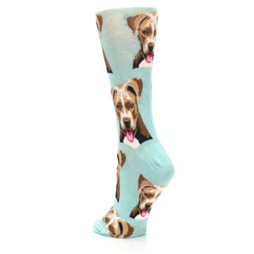 Image of Mint Pitbull Dog Women's Dress Socks (side-2-back-15)