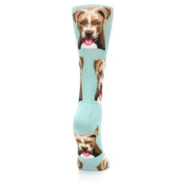 Image of Mint Pitbull Dog Women's Dress Socks (side-1-back-20)