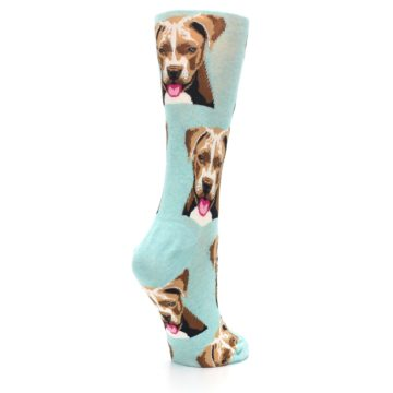 Image of Mint Pitbull Dog Women's Dress Socks (side-1-back-22)