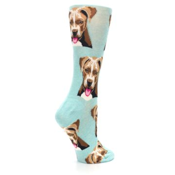 Image of Mint Pitbull Dog Women's Dress Socks (side-1-23)