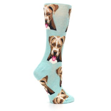 Image of Mint Pitbull Dog Women's Dress Socks (side-1-24)