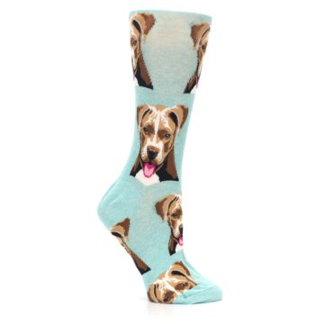 Image of Mint Pitbull Dog Women's Dress Socks (side-1-25)