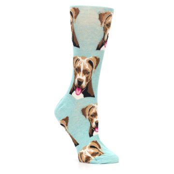 Image of Mint Pitbull Dog Women's Dress Socks (side-1-26)