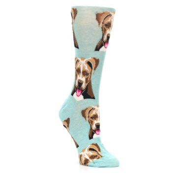 Image of Mint Pitbull Dog Women's Dress Socks (side-1-27)