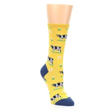 Image of Yellow Cows Women's Dress Socks (side-1-front-02)
