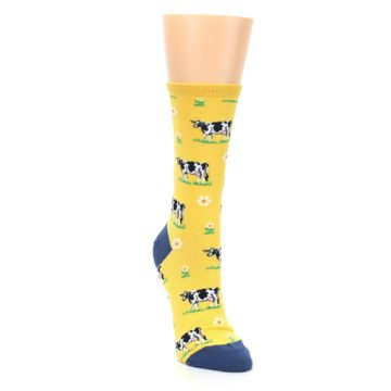 Image of Yellow Cows Women's Dress Socks (side-1-front-03)