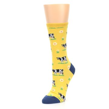 Image of Yellow Cows Women's Dress Socks (side-2-09)