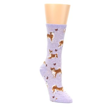 Image of Purple Shiba Inu Dogs Women's Dress Socks (side-1-front-02)