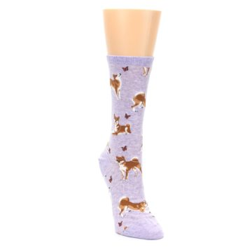 Image of Purple Shiba Inu Dogs Women's Dress Socks (side-1-front-03)