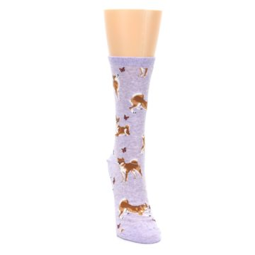 Image of Purple Shiba Inu Dogs Women's Dress Socks (front-04)