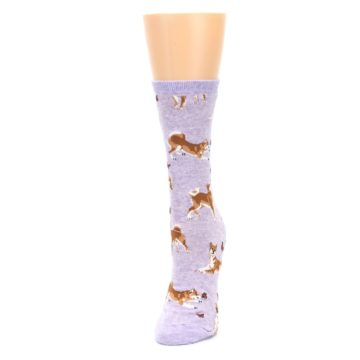 Image of Purple Shiba Inu Dogs Women's Dress Socks (side-2-front-07)