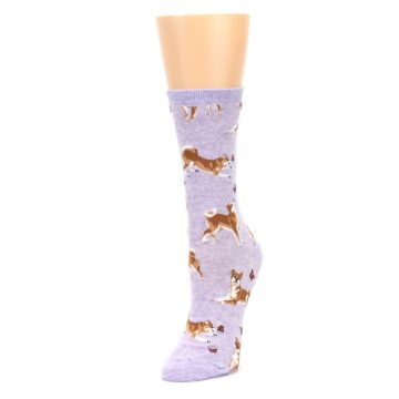 Image of Purple Shiba Inu Dogs Women's Dress Socks (side-2-front-08)