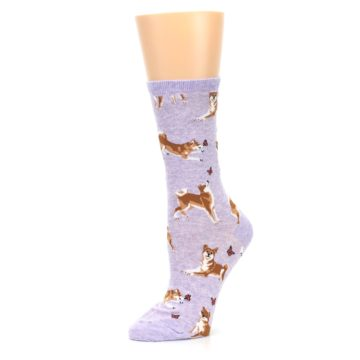 Image of Purple Shiba Inu Dogs Women's Dress Socks (side-2-10)