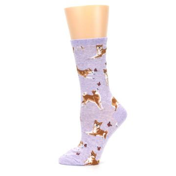 Image of Purple Shiba Inu Dogs Women's Dress Socks (side-2-12)