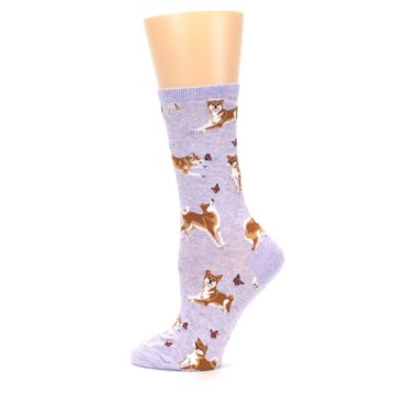 Image of Purple Shiba Inu Dogs Women's Dress Socks (side-2-13)