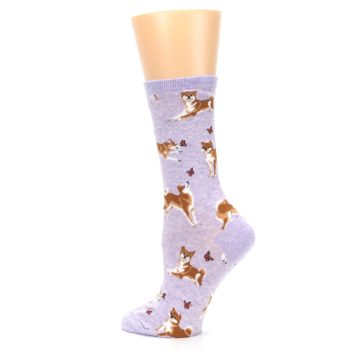 Image of Purple Shiba Inu Dogs Women's Dress Socks (side-2-back-14)