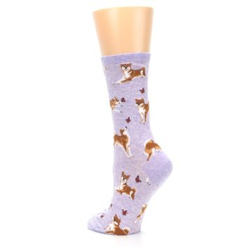 Image of Purple Shiba Inu Dogs Women's Dress Socks (side-2-back-15)