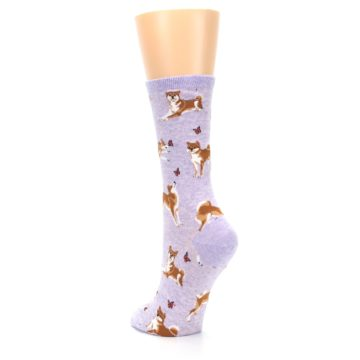 Image of Purple Shiba Inu Dogs Women's Dress Socks (side-2-back-16)