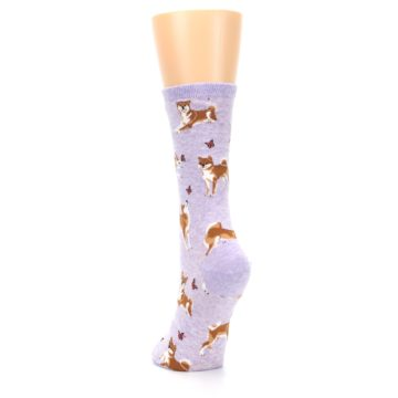 Image of Purple Shiba Inu Dogs Women's Dress Socks (back-17)