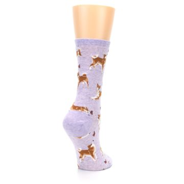 Image of Purple Shiba Inu Dogs Women's Dress Socks (side-1-back-22)