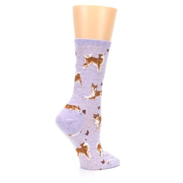 Image of Purple Shiba Inu Dogs Women's Dress Socks (side-1-24)